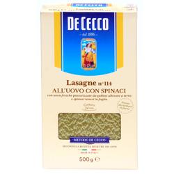 De Cecco Pasta Lasagna Spinach # 114-500gm