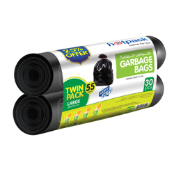 Hotpack Twin Pack Garbage Roll,55Gallon 80x110cm,25% Offer-30Bags