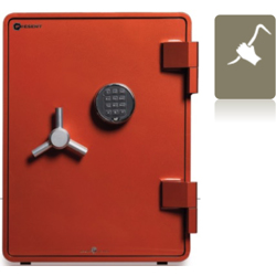 Shinjin Burglar Resistant Steel Safe With Fire Resistance Model SJST-800(Orange). Secured By Electronic Lock