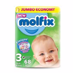 Molfix Comfortable Midi Baby Diapers 4-9 Kg 68 Count Size 3