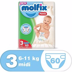 Molfix Comfortable Midi Baby Diapers 4-9 Kg 60 Count Size 3
