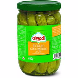 Al Wadi Pickled Cucumbers In Glass Jar 600 gr