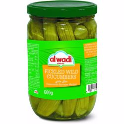 Al Wadi Pickled Wild Cucumbers In Glass Jar 600 gr