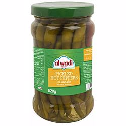 Al Wadi Pickles Hot Peppeers In Glass Jar 520 gr