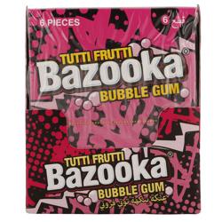 Bazooka Assorted Tutti Frutti Bubble Gum Wallet 33 gr Pack of 12