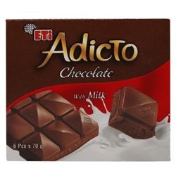 Eti Adicto Milk Chocolate 70 g Pack of 6