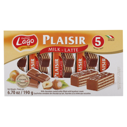 Lago Gastone Plaisir Milk Latte Wafer with Hazelnut Cream 38 gr Pack of 5