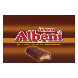 Ulker Albeni Milk Chocolate Coated Bar with Caramel and Biscuit 40 gr Pack of 24