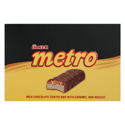 Ulker Metro Milk Chocolate Coated Bar with Caramel and Nougat 40 gr Pack of 24