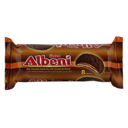Ulker Albeni Milk Chocolate Coated Bar with Caramel and Biscuit 43 gr Pack of 8