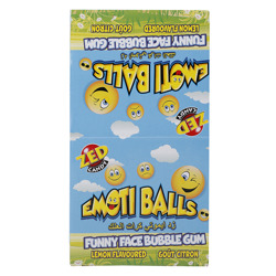 Zed Lemon Flavour Emoti Balls Funny Faces Bubble Gum 18 gr Pack of 50