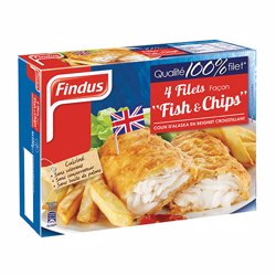 Findus 4 Battered Frozen Fish Fillet & Chips 400 gr