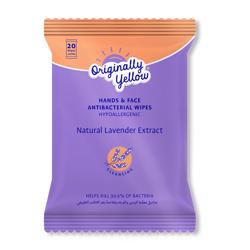 Originally Yellow Hand And Face Wipes Natural Lavender 20''s