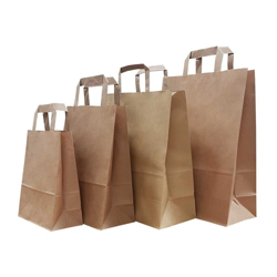 BioWare 500 Piece Kraft Flat Handle Bags 18x10x25cm