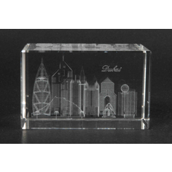 Optic Crystal Cube With 3D Laser Engraving Of Dubai Skyline-50x50x80mm
