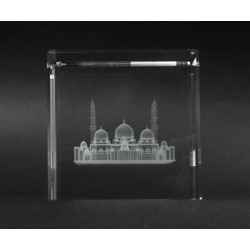 Optic Crystal Cube With 3D Laser Engraving Of Sheikh Zayed Mosque-60x60x60mm