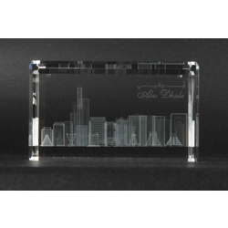 Optic Crystal Cube With 3D Laser Engraving Of Abudhabi Skyline-60x60x100mm