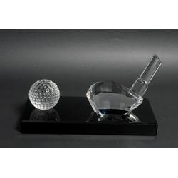 Crystal Golf Trophy On Clear Crystal Base-23.5cm