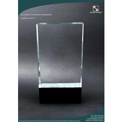 Crystal Slant Award With Black Base-20 cm