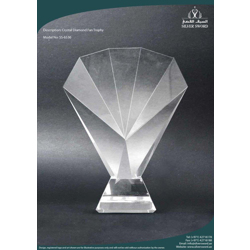 Crystal Fan Trophy With Dual Black Crystal Base-20cm