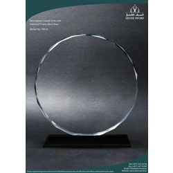Crystal Circle With Diamond Cut On Black Base-17cm