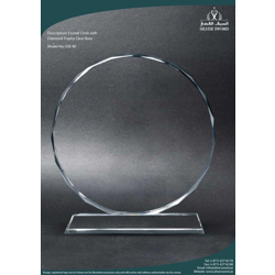 Crystal Circle With Diamond Cut On Clear Crystal Base-9cm
