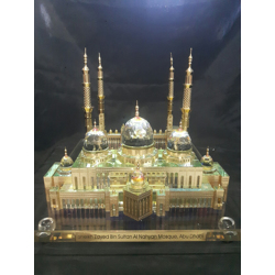 Crystal Gold Plated Sheikh Zayed Mosque Replica Model-46x33x26cm