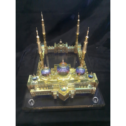 Crystal Gold Plated Sheikh Zayed Mosque Replica Model-13x11cm