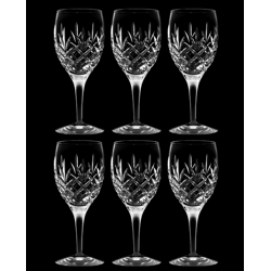 Crystal Handcrafted Wine Glasses Diamond Cut Set Of 6-25 cl