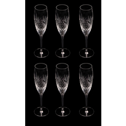 Crystal Handcrafted Champayne Glasses Diamond Cut Set Of 6-22 cl