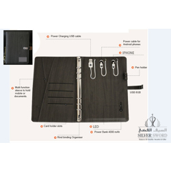 Pu Leather Notebook With Usb And Powerbank With Silver Metal Plate-Black preview
