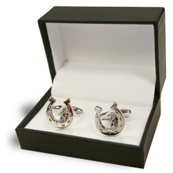 Metal Horse Shoe Shaped Silver Cufflinks-3cm