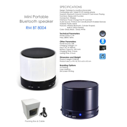 Mini Portable Bluetooth Speaker Glossy White-6x6x5cm