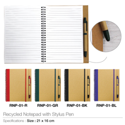 Eco Friendly Recycled Notepad With Stylus Pen-21x16cm