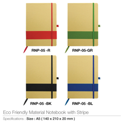 Eco Friendly Notebook With Stripe-140x210x20mm preview