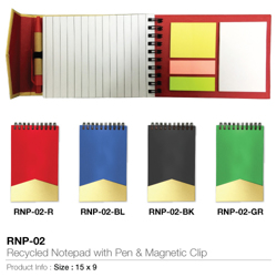 Eco Friendly Recycled Notepad With Pen, Sticky Note And Magnetic Clip-15x9cm