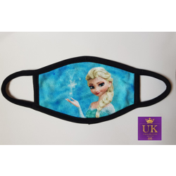 Kids Facemask With Animated Characters-Blue Elsa-17cm