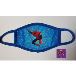 Kids Facemask With Animated Characters-Blue Spiderman-17cm