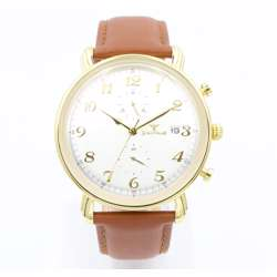 Multidimensional Men''s Light Brown Watch - Leather S23059M-2