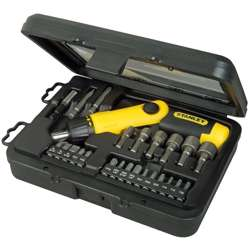 Stanley 0-63-022 Ratchet Screwdriver Set 25Pcs Pistol Grip.