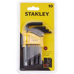 Stanley 0-69-253 10 Pieces Straight Male Elbow Hex Key Sets 1.5 - 2 - 2.5 - 3 - 4 - 5 - 5.5 - 6 - 8 - 10mm