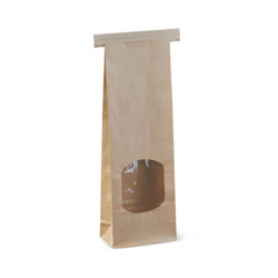 Detpak Brown Paper Tin Tie Bag With Window