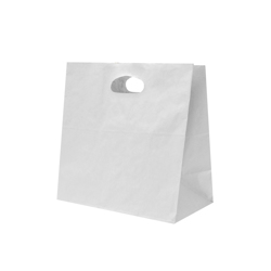 Detpak White Paper Take Away Bag With Die Cut Handle
