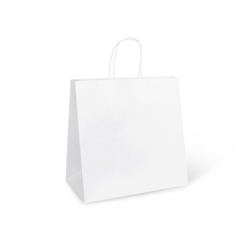 Detpak White Paper Take Away Bag With Twisted Handle