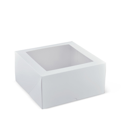 "Detpak Window White Patisserie Box Square 9"" Deep"
