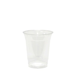 50 Plastic Coffee Cups with Handles, 8 oz Clear Disposable or Reusable Mug Pack