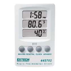 Extech 445702 Hygro-Thermometer Clock - 3 Displays