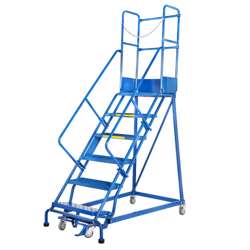 Gazelle G7014 14 Step Mobile Step Ladder W/ Hand rail