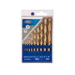 FORD FPTA-05-0019 HSS-TIN DRILLS SETS, 10PCS SET DIAMETER 1/2/3/4/5/