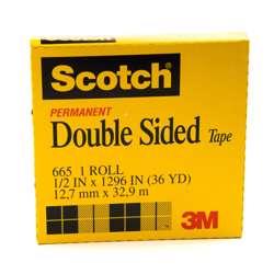 3M 665-1236 Scotch Double Sided Tape 1/2x36Yards